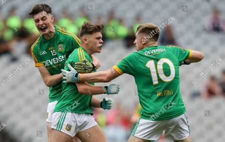 Stock Image of Galway vs Meath. Meath's Luke Kelly celebrates scoring a goal with Luke Mitchell and Darragh Swaine