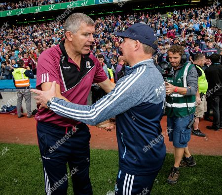 Dublin vs Galway. Dublin manager Jim Gavin and Galway manager Kevin Walsh shake hands after the game