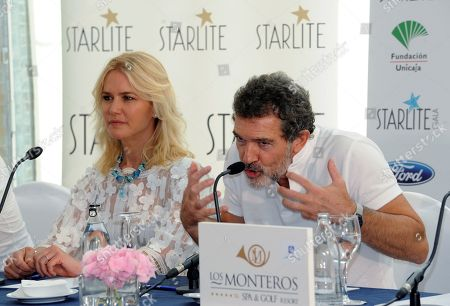 Spanish actor Antonio Banderas (R) and Argentine model Valeria Mazza (L) address a press conference during the presentation of the Starlite Gala 2018 in Hotel Los Monteros in Marbella, Malaga, Spain, 11 August 2018. The charity gala is part of the Starlite Festival, a cultural event featuring concerts ane gastronomy for more than 50 days. The festival runs from 11 July to 25 August.