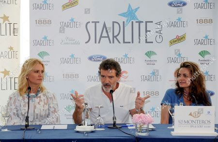 Spanish actor Antonio Banderas (C), Argentine model Valeria Mazza (L) and entrepreneur Sandra Garcia-Sanjuan (R)  address a press conference during the presentation of the Starlite Gala 2018 in Hotel Los Monteros in Marbella, Malaga, Spain, 11 August 2018. The charity gala is part of the Starlite Festival, a cultural event featuring concerts ane gastronomy for more than 50 days. The festival runs from 11 July to 25 August.