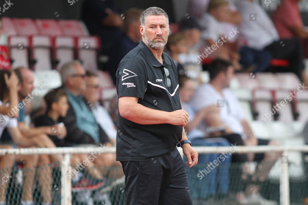 Jimmy Mcfarlane manager of Hornchurch during AFC Hornchurch vs Leatherhead, Bostik League Premier Division Football at Hornchurch Stadium on 11th August 2018