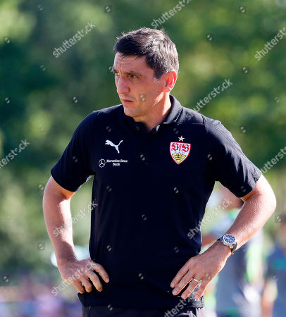 Stuttgart's head coach Tayfun Korkut reacts during the friendly test soccer match between VfB Stuttgart and Real Sociedad San Sebastian in Weinstadt near Stuttgart, Germany, 11 August 2018.