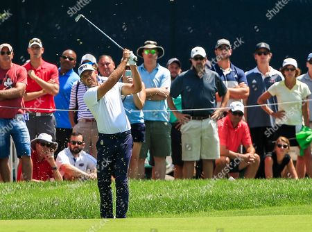 Charl Schwartzel of South Africa hits his second shot on the second hole during the third round of the 100th PGA Championship golf tournament at Bellerive Country Club in St. Louis, Missouri, USA, 11 August 2018.