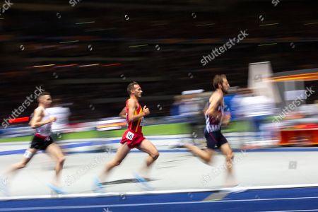 Chris Thompson, GBR, (L), Juan Perez, ESP (C), and Florian Carvalho, FRA, (R), at the men's 5000m final at the Athletics 2018 European Championships