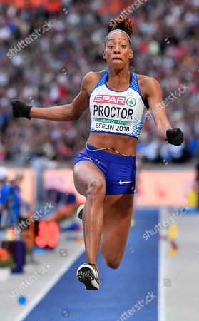 Britain's Shara Proctor makes an attempt in the women's long jump final at the European Athletics Championships at the Olympic stadium in Berlin, Germany