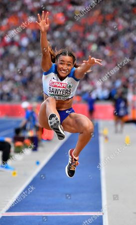 Britain's Jazmin Sawyers makes an attempt in the women's long jump final at the European Athletics Championships at the Olympic stadium in Berlin, Germany