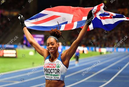 Britain's Shara Proctor celebrates after winning the bronze medal in the women's long jump final at the European Athletics Championships at the Olympic stadium in Berlin, Germany