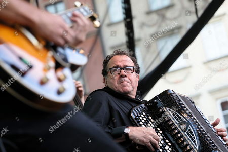 French multi-instrumentalist, accordion virtuoso, bandoneon and composer Richard Galliano performs at the Old Town Market Square in Warsaw, Poland, 11 August 2018 as part of the ongoing International Open Jazz Festival in the Old Town.