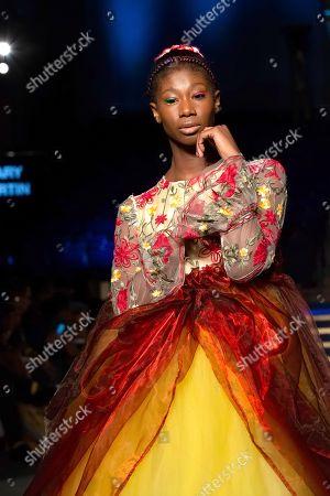 Stock Photo of Model on the catwalk showcases Mary Martin design