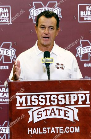 Mississippi State Football Special Teams Coordinator Joey Jones, answers a reporter's question during the Mississippi State Media Day, in Starkville, Miss