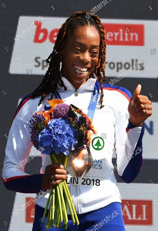 Shara Proctor of Britain celebrates on the podium after winning the silver medal in the women's Long Jump final at the Athletics 2018 European Championships in Berlin, Germany, 12 August 2018.