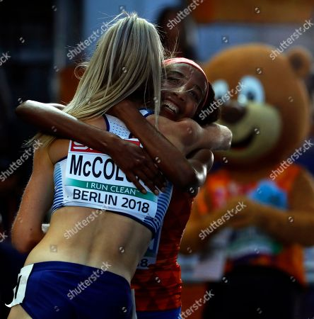 Sifan Hassan (R) of the Netherlands celebrates with second placed Eilish McColgan (L) of Britain after winning the women's 5,000m final at the Athletics 2018 European Championships, Berlin, Germany, 12 August 2018.