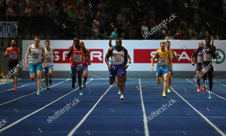 Harry Aikines-Aryeetey (C) of Britain is on his way to win the men's 4x100m Relay final at the Athletics 2018 European Championships, Berlin, Germany, 12 August 2018.