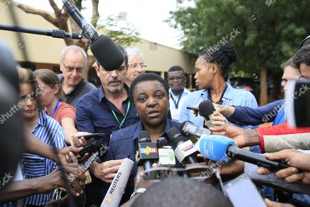 The head of the EU observer mission, Cecile Kyenge (C) speaks to journalists during the second round of the presidential election in Bamako, Mali, 12 August 2018. The incumbent President Ibrahim Boubacar Keita is expected to beat the opposition challenger, Soumaila Cisse of the Republic and Democracy (URD), for a second five-year term.