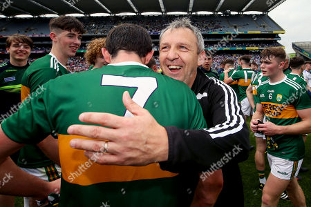 Kerry vs Monaghan. Kerry manager Peter Keane celebrates at the final whistle with Dan Murphy