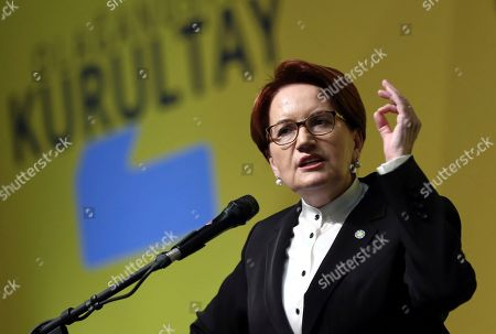 Meral Aksener, the leader of nationalist opposition IYI (Good) Party, addresses her supporters during IYI's congress in Ankara Turkey, . Aksener was re-elected Sunday as party leader