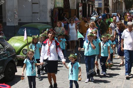 yrian-Armenian scout march to commemorate the Eid Al Saydeh, or Feast of the Assumption of the Virgin Mary, by the Orthodox Armenian Church in the old city of Damascus, Syria, 12 August 2018. The Feast of the Assumption of the Virgin Mary celebrates, according to the beliefs of the Christian churches, the bodily and spiritual ascension of Virgin Mary into Heaven at the end of her human life.