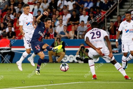 Paris Saint Germain player Angel Di Maria (2-L) in action against Caen's Faycal Fajr (L) and Romain Genevois (2-R) during the French league 1 soccer match between PSG and Caen at the Parc des Princes Stadium in Paris, France, 12 August 2018.