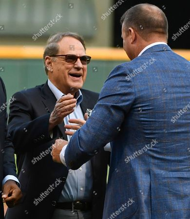Ken Williams, Jim Thome. Chicago White Sox Chairman Jerry Reinsdorf, left, greets Chicago White Sox great Jim Thome, who was inducted this year into the Baseball Hall of Fame, before a baseball game against the Cleveland Indians on in Chicago