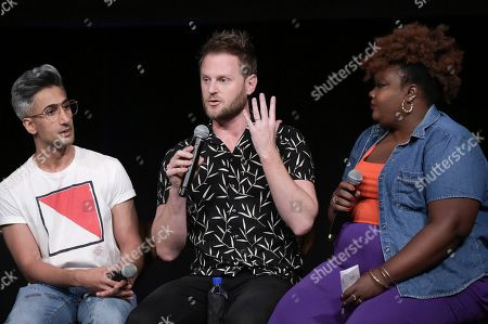 """Jonathan Van Ness, Antoni Porowski, Karamo Brown, Tan France, Bobby Berk, Nicole Byer. Jonathan Van Ness attends a Special Event with """"Queer Eye"""" at NeueHouse Hollywood, in Los Angeles"""