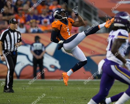 Denver Broncos punter Marquette King (1) in mid air after punting the ball during the first quarter of an NFL preseason matchup between the Minnesota Vikings and the Denver Broncos at Broncos Stadium at Mile High Denver CO, Scott D Stivason/Cal Sport Media