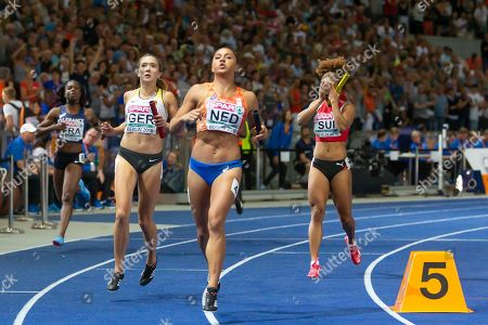 ZAHI, FRA, Rebekka Haase, GER, Naomi Sedney, NED, and Salome Kora, SUI. 4 x 100m Relay Women Final