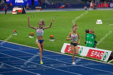 Eilish McColgan (L), GBR, Second and Denise Krebs (R), GER. 5000m Women Final