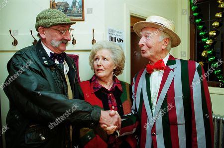 Stock Picture of Ep 2622 Thursday 16th December 1999 Betty is left speechless when she realises that a face from her past has resurfaced - With Betty Eagleton, as played by Paula Tilbrook ; Seth Armstrong, as played by Stan Richards ; Reggie Wilkie, as played by Leslie Randall.