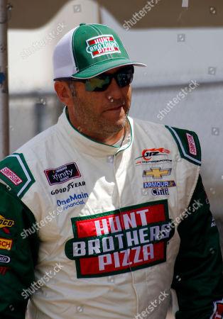 Elliott Sadler is seen during pre-race activities as the NASCAR Xfinity series auto race at Mid Ohio Sports Car Course in Lexington, Ohio