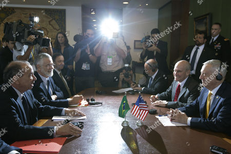 Brazilian Foreign Minister, Aloysio Nunes (L), welcomes Secretary of Defense of the United States, James Mattis (R), at the Itamaraty Palace in Brasilia, Brazil, 13 August 2018.  Mattis began today his first official tour of South America in Brasilia, where he was received by local authorities in both the Ministry of Defense and the Ministry of Foreign Affairs.