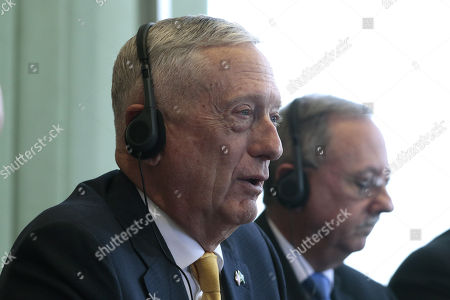 Secretary of Defense of the United States, James Mattis (L) participates in a meeting with Brazilian Foreign Minister, Aloysio Nunes (out of frame), at the Itamaraty Palace in Brasilia, Brazil, 13 August 2018. Mattis began today his first official tour of South America in Brasilia, where he was received by local authorities in both the Ministry of Defense and the Ministry of Foreign Affairs.