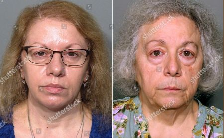 """This pair of photos released, by the New Canaan Police Department show Joanne Pascarelli, left, of Stratford, Conn., and her sister Marie Wilson, right, of Wilton, Conn., former cafeteria workers charged with stealing nearly a half-million dollars from New Canaan, Conn., schools over the last five years. An attorney for Wilson says she is innocent and is """"not going to be scapegoated"""