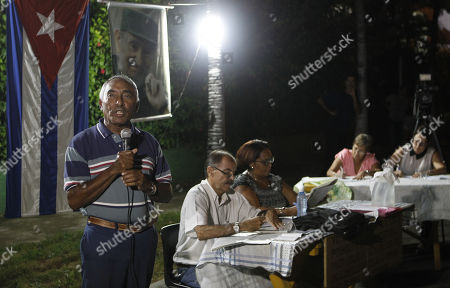 Military officer Arnaldo Tamayo Mendez (L), the first Latin American in space, participates in a Discussion Assembly in a neighborhood of Havana, Cuba, 13 August 2018. Among tributes to the deceased former President Fidel Castro on his posthumous birthday, Cuba opened the process of popular consultation of its new Constitution with the first meetings of citizens who for three months will propose changes in the text, which was preliminarily approved by Parliament.