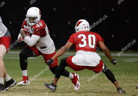 Stock Image of Arizona Cardinals fullback Derrick Coleman (48) tries to elude Cardinals safety Rudy Ford (30) during an NFL football practice, in Glendale, Ariz