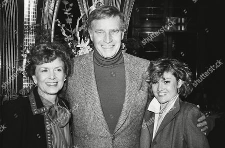 Charlton Heston with His Wife Lydia Clarke and Daughter Holly Ann Heston