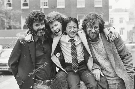 George Lucas Kate Capshaw Jonathan Ke Quan and Steven Spielberg