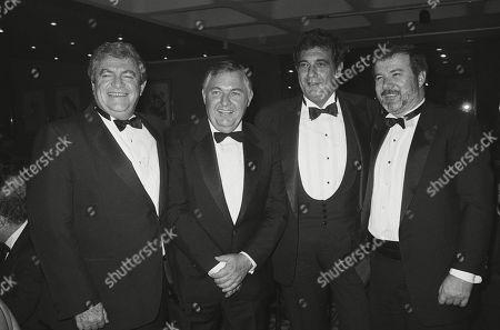 Stock Image of Producers Yoram Globus and Menahem Golan with Alan Bond and Placido Domingo