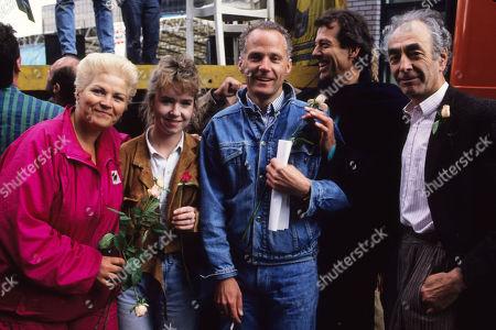Pam St Clement Sally Tully Michael Cashman Leslie Grantham and Leonard Fenton