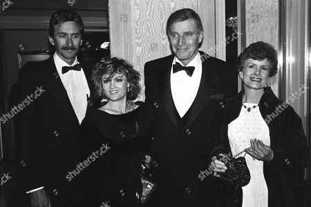 Charlton Heston with His Wife Lydia Clarke Son Fraser Clarke Heston and Daughter Holly Ann Heston