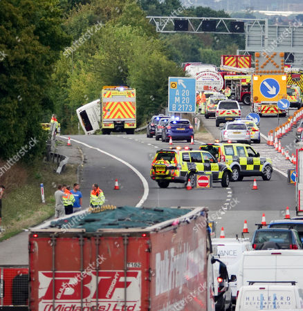 Coach crash on M25 near junction 3 Editorial Stock Photo