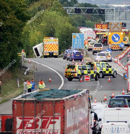 Coach crash on M25 near junction 3 Editorial Stock Photo