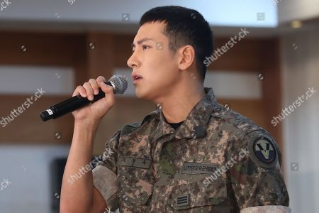 Stock Photo of South Korean actor Ji Chang-wook performs at an event at the Army Club in Seoul, 14 August 2018, to promote the musical 'Shinheung Military School'.