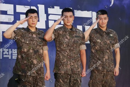 (L-R) South Korean actors Sungkyu, a member of boy band Infinite, Ji Chang-wook and Kang Ha-neul pose at an event at the Army Club in Seoul, 14 August 2018, to promote the musical 'Shinheung Military School.'