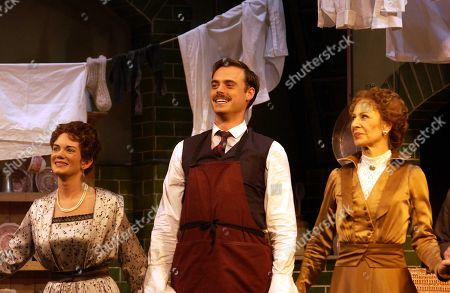Stock Image of Victoria Hamilton Jamie Theakston and Jane How On Stage For Curtain Call For