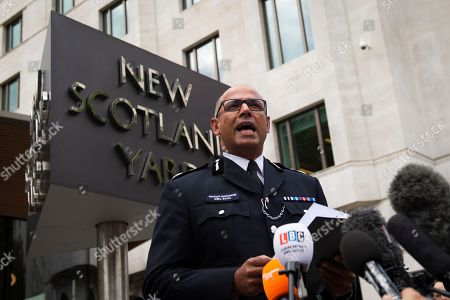 Metropolitan Police Assistant Commissioner and the National Lead for Counter Terrorism Policing in the UK Neil Basu addresses the media outside New Scotland Yard, Central London, Britain, 14 August 2018. At least two people have been injured after a car crashed into security barriers outside the Houses of Parliament on 14 August 2018, Scotland Yard say.