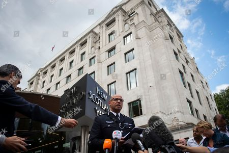 Metropolitan Police Assistant Commissioner and the National Lead for Counter Terrorism Policing in the UK Neil Basu (C) addresses the media outside New Scotland Yard, Central London, Britain, 14 August 2018. At least two people have been injured after a car crashed into security barriers outside the Houses of Parliament on 14 August 2018, Scotland Yard say.