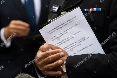 Notes held by Metropolitan Police Assistant Commissioner and the National Lead for Counter Terrorism Policing in the UK, Neil Basu, addresses the media outside New Scotland Yard, Central London, Britain, 14 August 2018. At least two people have been injured after a car crashed into security barriers outside the Houses of Parliament on 14 August 2018, Scotland Yard say.