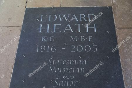 """Stock Image of Edward Heath (1916 - 2005) memorial at Salisbury Cathedral at Salisbury in Wiltshire, England. The inscription in memory of Britain's former Prime Minister records him as a """"statesman, musician and sailor""""."""