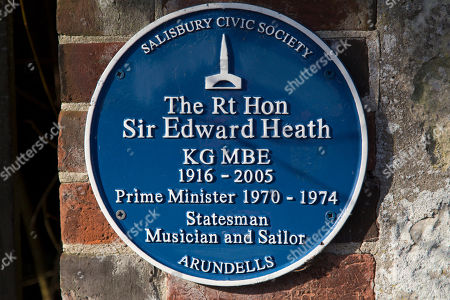 Blue plaque in memory of Sir Edward Heath at  Salisbury in Wiltshire, England. The plaque stands outside of the former Prime Minister's house, Arundells.