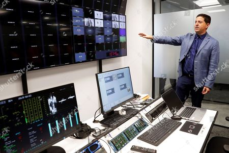 Stock Image of Sergio Sanchez, technology director of the video assistant referee (VAR) system, gestures during the presentation of the VAR operation room at the headquarters of the Spanish Soccer Federation (RFEF) in Madrid, Spain, 14 August 2018. The Spanish Primera Division will start using the VAR system for the first time on 17 August 2018.